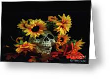 Skull And Flowers Greeting Card