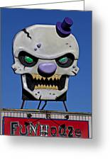 Skull Fun House Sign Greeting Card