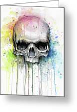 Skull Watercolor Rainbow Greeting Card