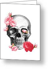 Skull With Pink Roses Framed Art Print Greeting Card