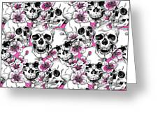 Skulls And Red Flowers Greeting Card