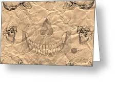Skulls In Grunge Style Greeting Card