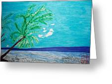 Sky Blue Palm Tree Beach Greeting Card