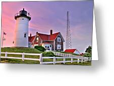 Sky Of Passion - Nobska Lighthouse Greeting Card by Thomas Schoeller