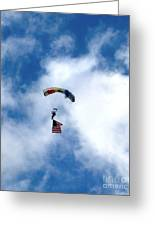 Skydiver With Flag Greeting Card