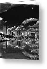 Skyline Along The River Greeting Card