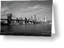 Skyline And The Brooklyn Bridge Greeting Card