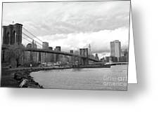 Skyline Nyc Brooklyn Bridge Bw Greeting Card