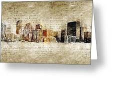 skyline of Denver in modern and abstract vintage-look Greeting Card