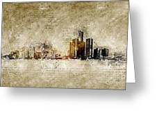 skyline of Detroit in modern and abstract vintage-look Greeting Card