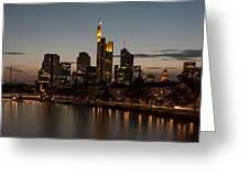 Skyline Of Frankfurt City In Twilight Greeting Card