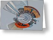 skyline of Uptown charlotte mini planet in winter Greeting Card