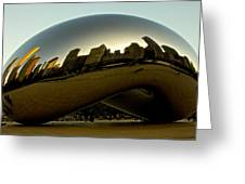 Skyline Reflection On Cloud Gate - Chicago -  Greeting Card