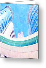 Skyscrapers Against Blue Sky Greeting Card