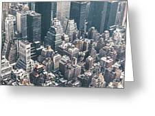 Skyscrapers View From Above Building 83641 3840x1200 Greeting Card