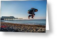 Slacklining On Aberystwyth Beach Greeting Card