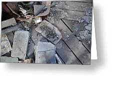 Slate On Floor Boards Greeting Card by Terry  Wiley