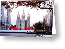 Slc Temple Red And White Greeting Card