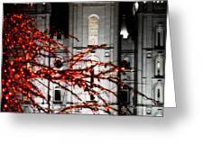 Slc Temple Red White N Black Greeting Card by La Rae  Roberts