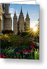 Slc Temple Sunburst Greeting Card