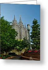 Slc Temple Walk Greeting Card by La Rae  Roberts