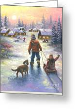 Sledding To The Village Greeting Card