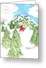 Sledding Wintertime - Www.jennifer-d-art.com Greeting Card