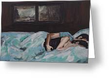 Sleeping In Greeting Card by Leslie Allen