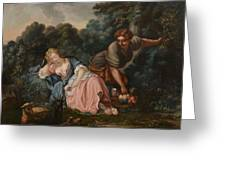 Sleeping Maiden In A Woodland Landscape Greeting Card
