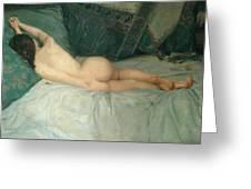 Sleeping Naked Woman Greeting Card