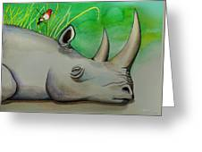 Sleeping Rino Greeting Card by Robert Lacy