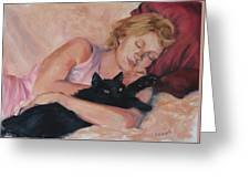 Sleeping With Fur Greeting Card