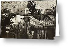 Sleeping Woman, C1900 Greeting Card
