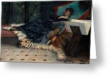 Sleeping Woman With A Book Greeting Card