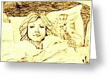 Sleepy Girl Friend On A Cat Pillow Greeting Card by Sheri Buchheit