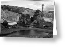 Sleepy Hollows Farm Woodstock Vermont Vt Pond Black And White Greeting Card