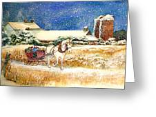 Sleigh Ride At Brickers Greeting Card