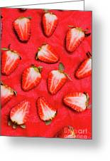Sliced Red Strawberry Background Greeting Card