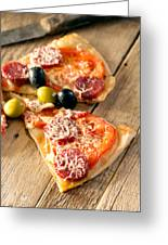 Slices Of Homemade Pizza With Salami Greeting Card