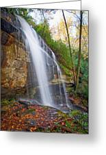 Slick Rock Falls, A North Carolina Waterfall In Autumn Greeting Card