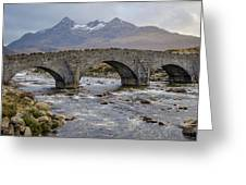 Sligachen Bridge And The Black Cullin, Isle Of Skye Greeting Card