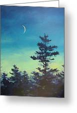 Sliver Moon And Pines Greeting Card