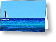Sloop Sailing On Blue Greeting Card