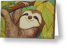 Sloth And Frog Greeting Card