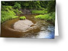 Slow River In Deep Forest Landscape Greeting Card