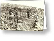 Sluice Box Placer Gold Mining C. 1889 Greeting Card