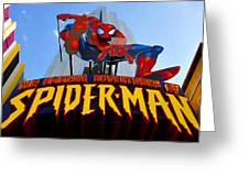 Spider Man Ride Sign.  Greeting Card