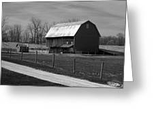 Small And Big Barns Monochrome Greeting Card