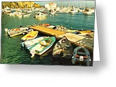 Small Boat Dock Catalina Island California Greeting Card