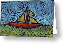 Small Boat With Yellow Sail Greeting Card